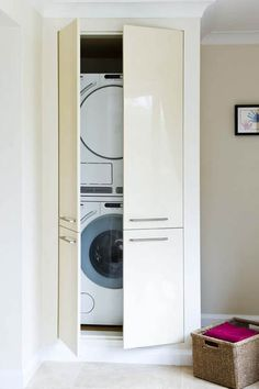 Slim Refrigerator In Small Laundry Room