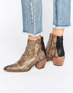 Free People Nevada Thunder Brown Snake Effect Western Ankle Boots