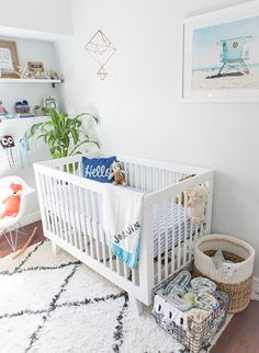 cool and modern nursery with beach inspiration, indoor plants, playful organic textures, and pops of color