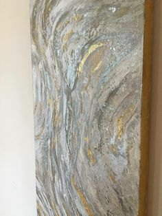 This one of a kind, original abstract artwork created with a mixture of acrylic paints and different textures. These large scale paintings offer a unique statement for any large wall. This style painting includes shades of gray, taupe, white, silver and gold leaf.  This is a signed original gallery wrapped heavy duty canvas that is 1.5 deep ****** This item is sold, but a very similar piece can be made upon request! Custom colors and sizes available. *******   gold, gold foil, gold leaf…