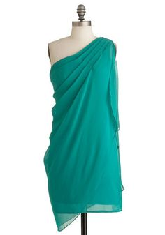 Teal It In Dress - Mid-length, Party, Green, Solid, Sheath / Shift, Wrap, One Shoulder, Cocktail, Sheer, Prom
