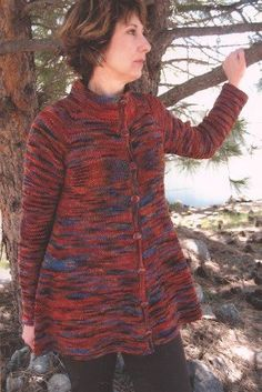 Knitting Pure and Simple Women's Cardigan Patterns - 285 - Neck Down Swing Coat Pattern at Jimmy Beans Wool