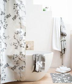 Modern blossom shower curtain