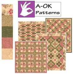 A-OK Patterns - www.quiltintia.com.  Just 5 one yard cuts like the ones shown will make ANY of these quilts.