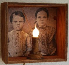 Early Old Antique Crate Box Light with Primitive Childs Portrait. $29.99, via Etsy.