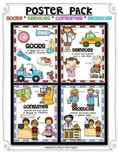 ECONOMICS Poster Pack: Social Studies {Goods/Services & Consumer/Producer). Great discussion starters for basic economic talks. Kindergarten or First Grade Classrooms. $