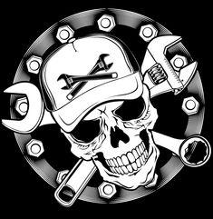 Biker Tattoos, Skull Tattoos, Motorcycle Art, Bike Art, Catrina Tattoo, Jdm Stickers, Skull Artwork, Graffiti Drawing, Garage Art