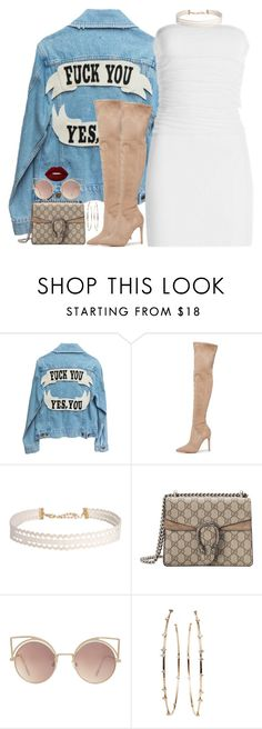 """""""Body Language   12   11 16"""" by kahla-robyn ❤ liked on Polyvore featuring Kendall + Kylie, Humble Chic, Gucci, MANGO, Mattia Cielo, Lime Crime, dress, jacket, jeansjacket and THIGHHIGHBOOTS"""