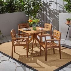 5pc Stamford Acacia Wood Patio Dining Set Teak - Christopher Knight Home : Target Wicker Dining Set, Outdoor Dining Set, Dining Arm Chair, Patio Dining, Outdoor Furniture Sets, Outdoor Decor, Dining Furniture, Dining Table, Resin Patio