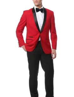 Brand new slim fit 1 button shawl collar slim fit dinner jacket for men available in red with black. Red Tuxedo, Groom Tuxedo, Mens Tux, Mens Suits, Red Tux Prom, Look Fashion, Mens Fashion, Fashion Vest, Fashion Rings