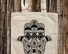 Hamsa hand Graphic Print Canvas Tote Bag