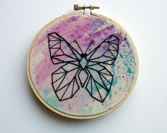 Hand Embroidered Geometric Butterfly Wall by JustFabulousDarling