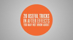 20 Useful Tricks in After Effects You May Not Know About by Sergei Prokhnevskiy. For more tutorials visit ukramedia.com. 1. Keyframe Velocity (CTRL+SHIFT+K) ...