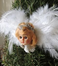 Rose Petals and Rust: Old doll head angel ornaments