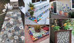 Simple handmade mosaic decorations for your garden Fatma Nimet Balkaya Mosaic Bowling Ball, Mosaic Projects, Mosaic Ideas, Backyard Planters, Brick Art, Garden Stepping Stones, Small Space Gardening, Cute Diys, Decoration Table