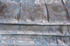 Satin Brocade Curtains Silvery Blue Three Panels 1940s
