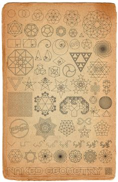 Old World Naked Geometry | a DaVinci-style sketchbook page, filled with various sacred geometry, fractals, and symbols. I originally designed this for my children, but Ive
