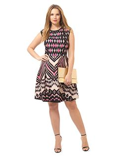 Scuba Fit & Flare Dress In Azalea by Taylor Dresses, Available in sizes 10W-24W