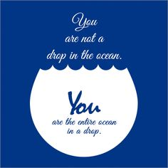You are not a drop in the ocean. You are the entire ocean in a drop.  By RUMI