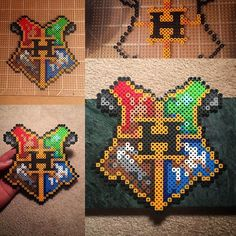 Harry Potter crest perler beads by this_demi