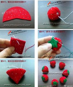 Very cute and easy felt crafts projects. How to make felted strawberryStep by step crafts - Step by step crafts Felt Diy, Felt Crafts, Fabric Crafts, Sewing Crafts, Diy And Crafts, Sewing Projects, Ornament Crafts, Felt Ornaments, Felt Flowers