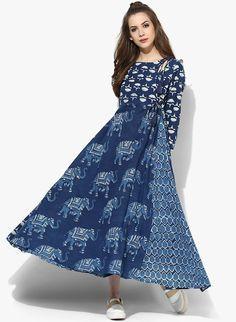 Sangria Navy Blue Round Neck Indigo Print Anarkali