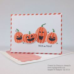 handmade Halloween card ... group of happy jack-o-lanterns ... luv how Sharon use the diagonally striped paper as a mat on the card and a liner in the envelope ... Stampin' Up!