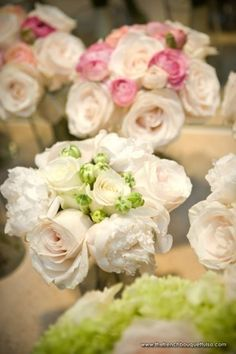 Cream Rose and Peony Bridesmaid Bouquets by The French Bouquet - Chris Humphrey Photographer