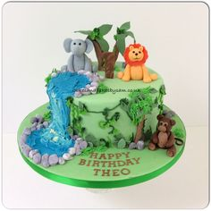 Animal, safari themed birthday cake