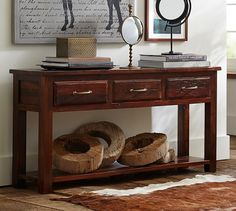 EXACT console table I've been searching for!  Check for true wood color and in-person size.  Bowry Reclaimed Wood Console Table | Pottery Barn