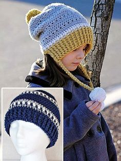 Stitch 2 winter hats for everyone in the family! Gracie's Winter Slouch is an updated twist on the earflap of the past with a slouchy look and ribbed band around the face that extends to cover the ears. Add ties with pompoms, tassels, beads or leave ...