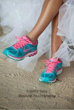 fun tennis shoes in wedding dress