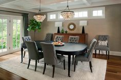 Grass Cloth Wallpaper; Gray Dining Room; Design, Pictures, Remodel, Decor and Ideas