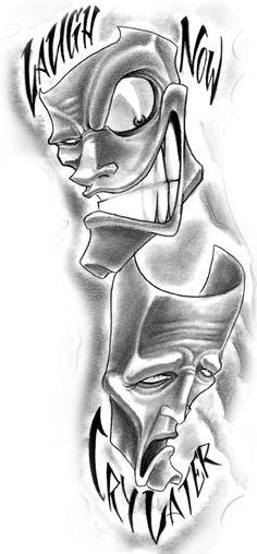 Laugh Now Cry Later Tattoo Design - George Diaconescu - Tatto Ideas Wörter Tattoos, Skull Tattoos, Body Art Tattoos, Sleeve Tattoos, Cool Tattoos, Tatoos, Latest Tattoo Design, Tattoo Designs, Home Tattoo