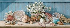 Janet Kruskamp's Paintings - Sea Shell Collection I, an original oil painting of a wooden shelf holding a sea shell collection against a lig...