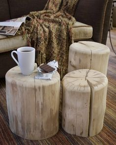 Tree Stump Table with Casters - All Things Heart and Home