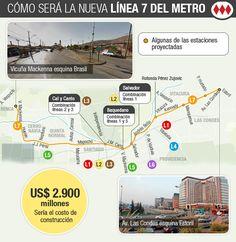 """Así será la nueva Línea 7 del Metro que dejará a Santiago en el """"top 20"""" mundial de las redes más extensas   Emol.com"""