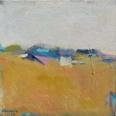 Colorful Horizon 12x12 Original Contemporary Abstract Landscape Painting by Jacquie Gouveia, $125.00