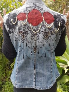 6ba6f4100df8bb Denim Jacket Vintage Upcycled Embellished Appliqués red leather roses