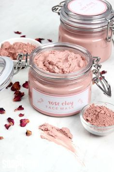 This Rose Clay Face Mask recipe is great for dry or mature skin. Rosehip seed oi… This Rose Clay Face Mask recipe is great for dry or mature skin. Rosehip seed oil, chamomile extract and rose absolute create a luxurious clay face mask. Homemade Face Masks, Homemade Skin Care, Diy Skin Care, Homemade Face Cleanser, Diy Face Scrub, Sugar Scrub Diy, Sugar Scrubs, Diy Beauté, Clay Face Mask