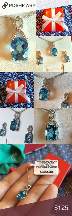 "💎Aquamarine Set💎 Gorgeous .75 inch tall pendant on a 16-17"" sterling silver chain with matching earrings. Sophisticated ribbon design. Very sparkly and eye catching ✨✨ Quite an elegant set. Never worn, new in box. From Macy's. Comes in cute red gift box with a white ribbon. No trades. ⭐️I ACCEPT OFFERS! ⭐️ Macy's Jewelry Necklaces"