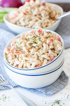A photo of a vegan macaroni salad in a bowl