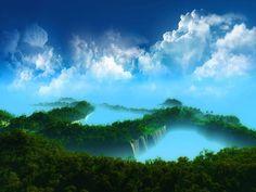 Azul - céu e Mata - Verde 1600x1200 Papel de Parede Wallpaper