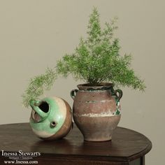 Antique Accessories | Antique China and Ceramics | 19th Century Country French Green Confit Pot | www.inessa.com