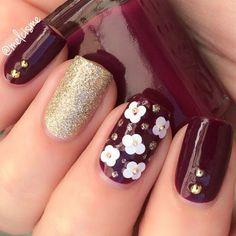 Burgundy & gold nails ✿⊱╮