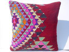 "MODERN Bohemian Home Decor,Handwoven Turkish Kilim Pillow Cover 16"" X 16"",Decorative Kilim Pillow,Vintage Kilim Pillow,Throw Pillow. $67.00, via Etsy."