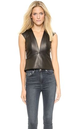 Mason by Michelle Mason Leather Plunge Neck Top