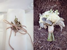 Dusty-Miller-esque plants in bouquets, twine-and-herb-tied napkins - more photos!!