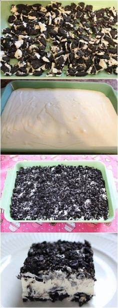 PERFECT OREO DESSERT Need: 1 package Oreos; One 8 oz pkg cream cheese, softened; One 8 oz container of Cool Whip; 3 c. 1 c. Use gluten free Oreo type cookies. Yummy Treats, Delicious Desserts, Sweet Treats, Yummy Food, Oreo Treats, Oreo Dessert Recipes, Cake Recipes, Dessert Food, Dessert Bars