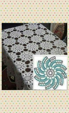 Crochet tablecloth free pattern // Make an altar cloth.This Pin was discovered by Rcr Crochet Thread Patterns, Crochet Tablecloth Pattern, Crochet Bedspread Pattern, Crochet Motifs, Crochet Dishcloths, Crochet Chart, Crochet Blanket Patterns, Filet Crochet, Irish Crochet